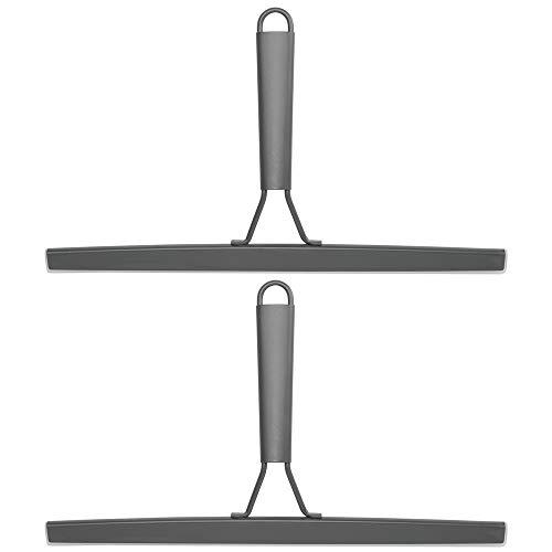 mDesign - Douchewisser - trekker - badkamer- en douche-accessoire voor het schoonmaken van glazen oppervlakken/voor het schoonmaken van ramen spiegels, en douchecabines - 2-delige set - pc grafiet