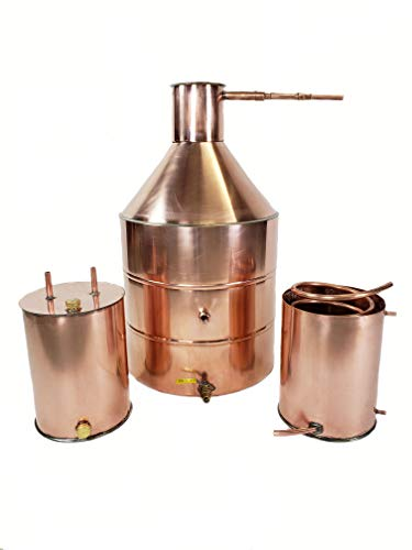 20 Gallon Copper Moonshine Still Built with Heavy Duty 20 Ounce/ 22 Gauge Copper with 3 Gallon Worm, 3 Gallon Thumper with Ball Valve Drain Port, 1/2 OD Copper Tubing by North Georgia Still Company