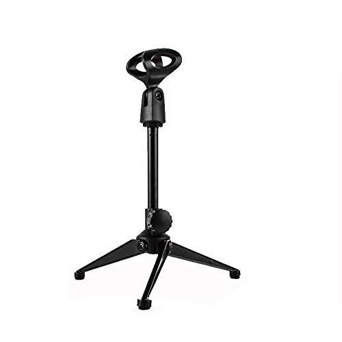 OFKPO Mini Treppiedi Regolabile in Metallo per Microfono (Nero)