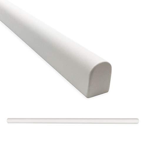 Tile Trim 1/2 X 12 inch Soho Pencil Shower Ceramic Tile Transition Liner Backsplash Wall Molding - Matte Bright White (12 Pack)