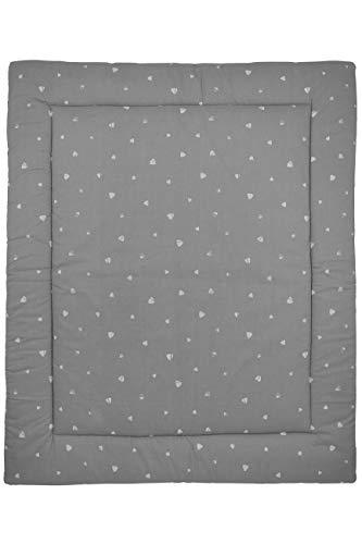 Meyco 429041 Laufgittereinlage - Boxmatratze - Spieldecke - 100% Baumwolle Gewebt - SWEET TRIANGLE Grau 80x100cm