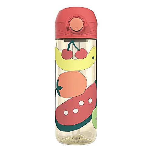CJFael Botella de agua deportiva para actividades al aire libre, impresión de tazas para niños, accesorios Protable para niños, botellas de agua a prueba de fugas para exteriores, color rojo sandía