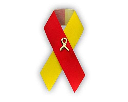 Coronavirus Awareness Satin Ribbon Pin – Red & Yellow Ribbon Pin for Coronavirus Awareness, Fundraising & Gift-Giving (1 Pin)