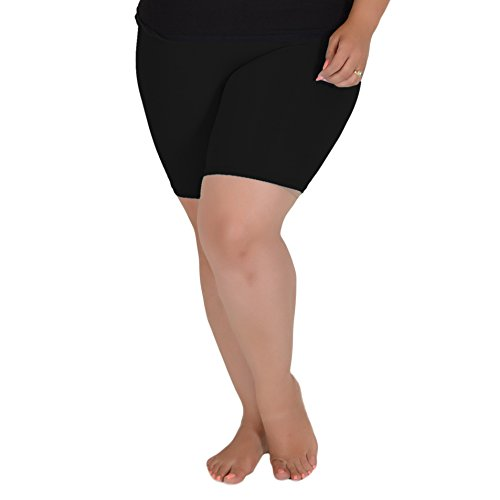 Stretch is Comfort Women's Teamwear Cotton Plus Size Bike Shorts Black 4X