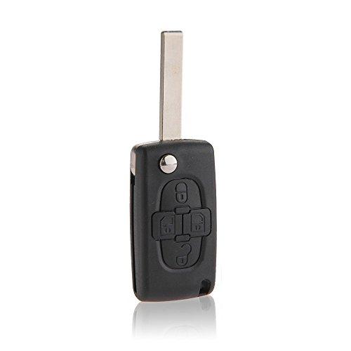 CARCHET® 2x Coque Étui Protection de Clé Télécommande 4 Boutons Couleur Noir pour Voiture Auto Peugeot 1007 Ciirtoen C8