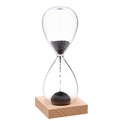 YLTIMER Magnetic Hourglass Sand Timer 3 Minute:Sand Clock with Black Magnet Iron Powder&Wooden Base,Sand Watch 3 Min,Lager Reloj De Arena, Hour Glass Sandglass for Office Desk Home Decoration