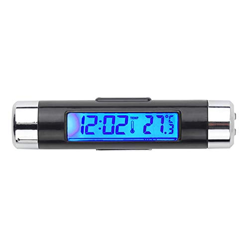 NAttnJf Auto-Uhr-Thermometer Auto LCD Clip-on Digital Hintergrundbeleuchtung Kfz-Thermometer Uhr Kalender Display