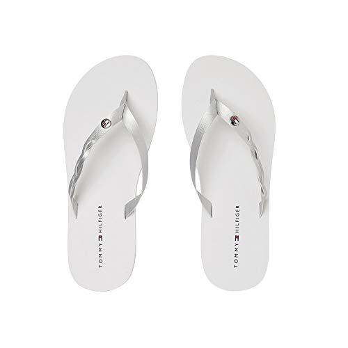 Tommy Hilfiger Metallic Braided Beach Sandal, Sandalias Punta Cerrada para Mujer, Blanco (White Ybs), 41 EU