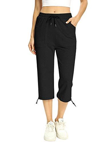 Irevial Pantalon Chandal Mujer Algodón Verano Pantalones Deportivos Mujer Largos 3/4 con Cordón y Bolsillos Laterales para Yoga Fitness Entrenamiento Correr
