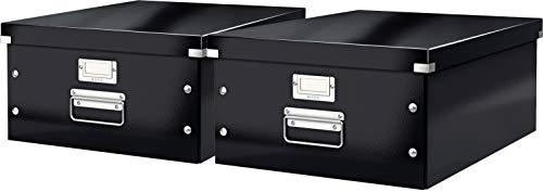 Leitz, Große Aufbewahrungs- und Transportbox, Mit Deckel, Für A3, Click & Store (Schwarz | 2er Pack)