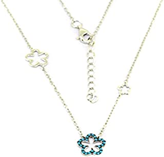 Parejo Silver Necklace Flowers Shaped for Women