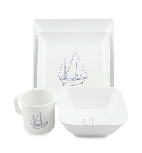 Norestar Melamine Galleyware Nautical Boat Dish Set, Bowls, Plates, Mugs (16 Piece)