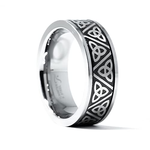 Tioneer 8MM Men's Tungsten Carbide Ring with Celtic Triquetra Knot   Trinity Knot   Scratch Resistant   (Black, 9)