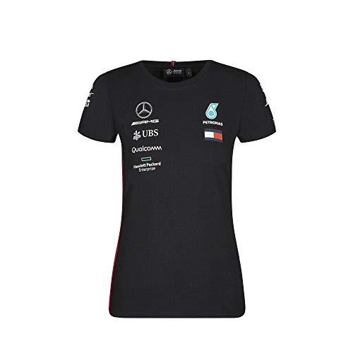 Official Formula One Merchandise | Dames | Officiële Mercedes-AMG Petronas Motorsport 2019 F1TM | Team T-shirt | Zwart | Katoen en Elestan | Maat: S