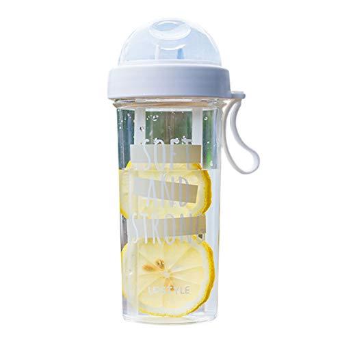 HShyxlkj drinkbeker met dubbele buis, drinkbeker, 400/600 ml, draagbaar, dubbel rietje, scheidbaar, drinkfles, water, cadeau voor koppels