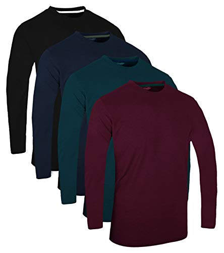 FULL TIME SPORTS® Tech 3 4 6 Pack Assorted Langarm-, Kurzarm Casual Top Multi Pack Rundhals T-Shirts (X-Large, 4 Pack - Long Sleeve Grün Schwarz Braun Marine)