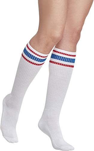Urban Classics Herren Long Stripe 2-Pack Socken, Mehrfarbig (Wht/Firered/Brightblue 01426), 39-42 (2er Pack)