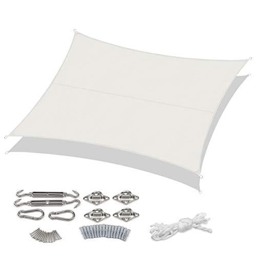 Sekey Toldo Vela de Sombra Rectangular Protección Rayos UV, Resistente Impermeable para Patio, Exteriores, Jardín, con Cuerda y Kit de Montaje, 3×4m Blanco