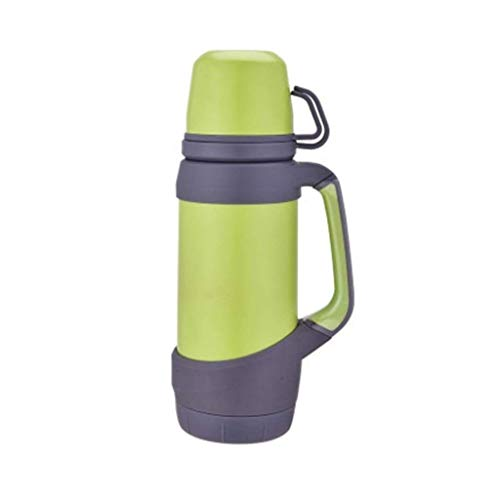 CCBCZ Double Cup Water Bottle Cup with Handle, Stainless Steel Insulated Vacuum Outdoor Large Capacity Thermos 1200 Ml (Color : Green)