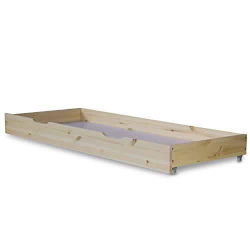 Homestyle4u 1910, Bettkasten Holz Aufbewahrung mit Rollen, Bett Schublade Bettauszug Natur