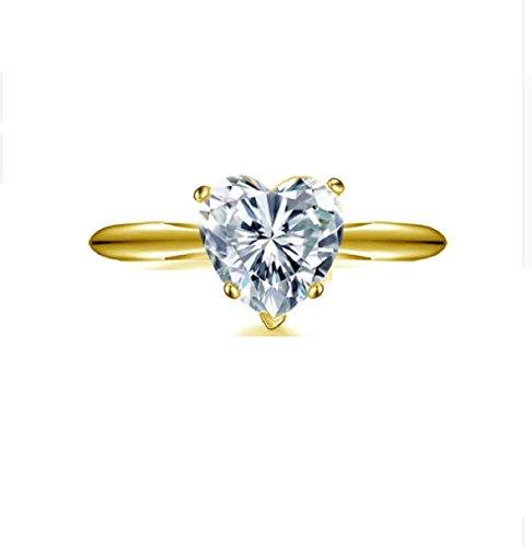 GOWE 10K Sólido Amarillo Oro Anillos de boda 2quilates forma de corazón solitario simulado diamond amantes propuesta