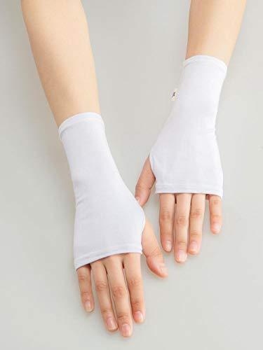 SHOUTAO Handschuhe Studentenhandschuhe Sommer fingerlos Reiten Baumwolle halbgeschnittene Handschuhe Modal Halbfinger Handschuhe Abdeckung Narbenhandschuhe M weiß
