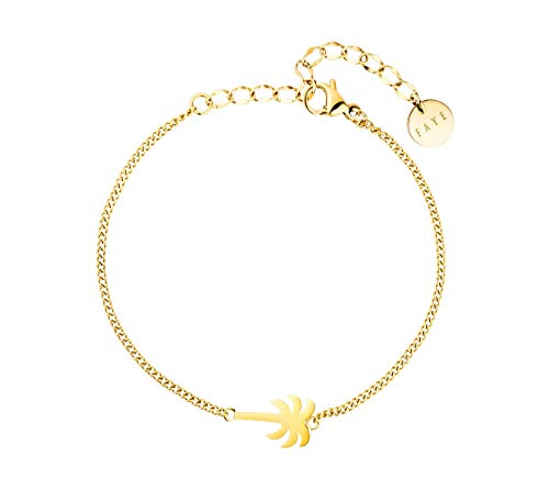 FAYE ® Palm Tree Gold Armband Damen - Armkette mit edlem Anhänger - Längenverstellbar - Aus hochwertigem Edelstahl