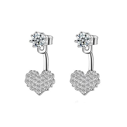 Pendientes simples en forma de corazón de cristal de la joyería de circón colgante trasero pendiente para el regalo de las niñas