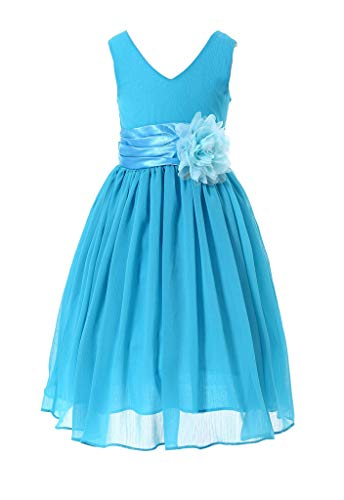 HAPPY ROSE HAPPY ROSE Juniorbrautjungfernkleid Abschlussball-Partykleid Chiffon Blau 2_Jahre