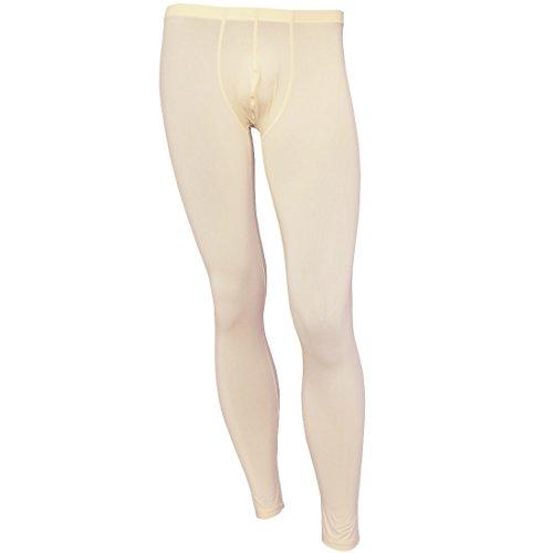 iiniim Mens Thin Ice Silk Compression Baselayer Thermal Long Johns Underwear Beige M