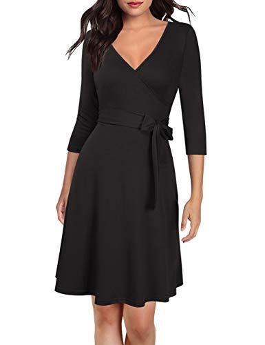 KOJOOIN Damen Kleid Businesskleid Knielang Wickelkleid, 3/4 Arm mit V-Ausschnitt und Gürtel, Schwarz, M