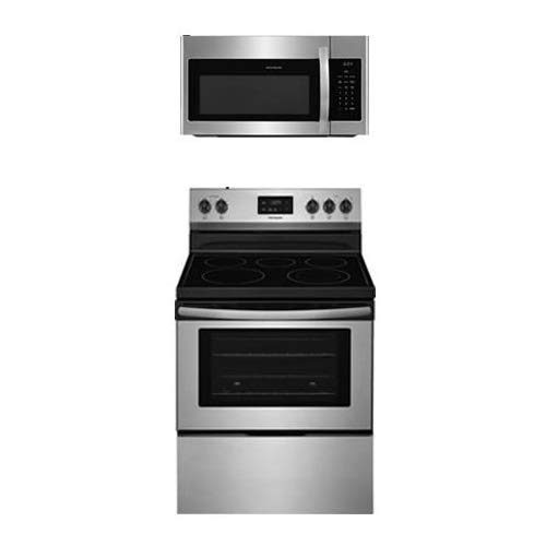 """Frigidaire 2-Piece Kitchen Package with FFEF3052TS 30"""" Freestanding Electric Range and FFMV1645TS 30"""" Over the Range Microwave Oven in Stainless Steel"""