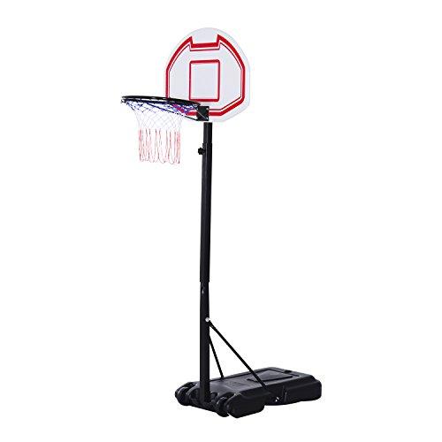 Homcom Panier de Basket-Ball sur Pied avec Poteau Panneau, Base de lestage sur roulettes Hauteur réglable 1,9-2,5 m Noir Blanc