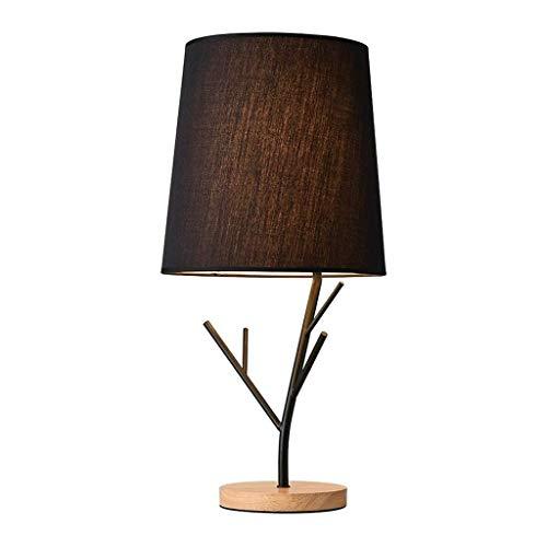 LED Lámparas de Mesa Árbol de hierro tabla de ramas lámpara de escritorio, lámpara de mesa de noche creativa con Base de madera / cortina de la tela negro Pequeño Luz de Noche for Office dormitorio, E