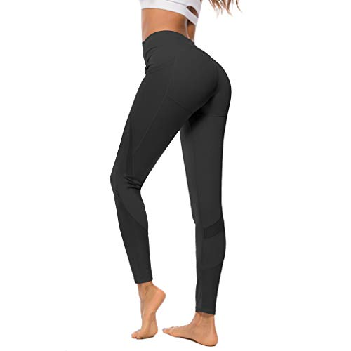 Lulupi Damen Sporthose Sport Leggings Tech Mesh mit Taschen Laufhose Yogahose Lange Stretch Sportleggins Tights Frauen Workout Gym Fitnesshose