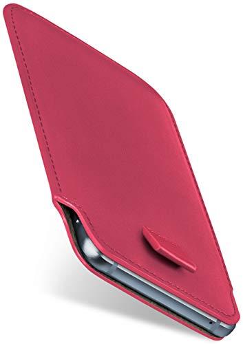 moex Slide Hülle für Samsung Galaxy S9 - Hülle zum Reinstecken, Etui Handytasche mit Ausziehhilfe, dünne Handyhülle aus edlem PU Leder - Pink