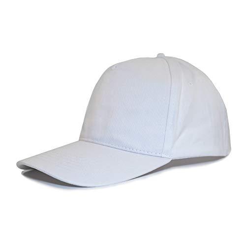 Markenfrei Baseball Cap, Kappe, Unisex Men and Women/Herren oder Damen, 100% Baumwolle, Metallschnalle, Metal Buckle, Atmungsaktiv, Weiß, Blau, Rot, Grau, Schwarz (Weiß)
