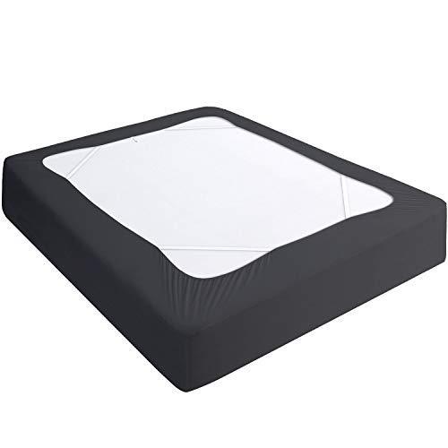 Boxspringbezug King-Size, elastischer Stoff, 4 Seiten, Bettrock, elegante Alternative für Bettröcke für Hotel/Zuhause, Kingsize, Schwarz