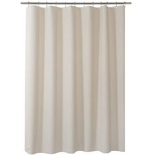 AmazerBath Plastic Shower Curtain, 72 x 84 Inches Khaki EVA 8G Thick Bathroom Plastic Shower Curtains with Heavy Duty Clear Stones and Grommet Holes