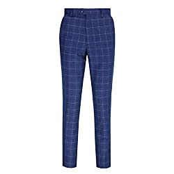 Men's Smart Tailored Large Grid Checks Suit Trousers by XPOSED London Features 2 Front Cross Pockets, 2 Back Welt Pockets, Flat Front, Belt Loops, Half Lined Zip Hook and Button Fastening, Finished Hem, Half Lined Front, Aprrox inside Leg 32 inches I...
