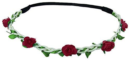 Blumen Haarband Bella mit kleinen Rosen - Dunkelrot