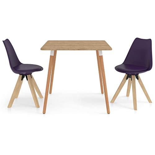 vidaXL Essgruppe 3-TLG. Esszimmergruppe Esstischset Tischset Sitzgruppe Küchentisch Esstisch Esszimmertisch mit 2 Stühlen Esszimmergarnitur Lila