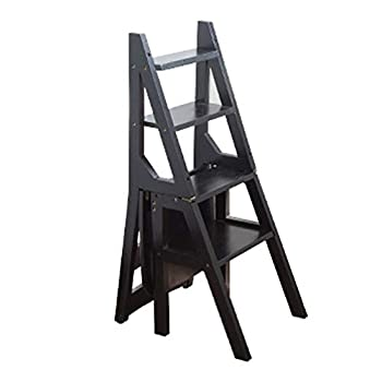 Sevts Convertible Multi-Functional Four-Step Library Ladder Chair in 4 Color Library Furniture Folding Wood Chair Step Ladder for Home Furniture