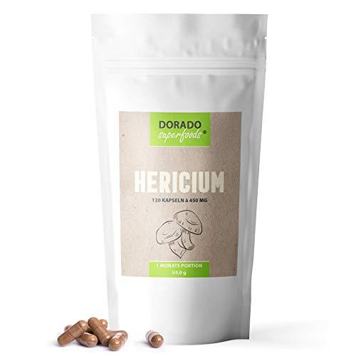 Dorado Superfoods ®Hericium Extrakt Kapseln hochdosiert   120 Stück - 1400 mg Tagesdosis - vegan   aus 10:1 Extrakt - 1 Monatspackung