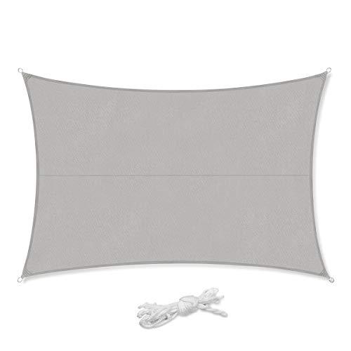 Sekey Sonnensegel Sonnenschutz Rechteckig Polyester Windschutz Wetterschutz Wasserabweisend Imprägniert UV Schutz, Überlegene Reißfestigkeit, für Balkon Garten Outdoor, mit Seilen, Hellgrau 4×6m