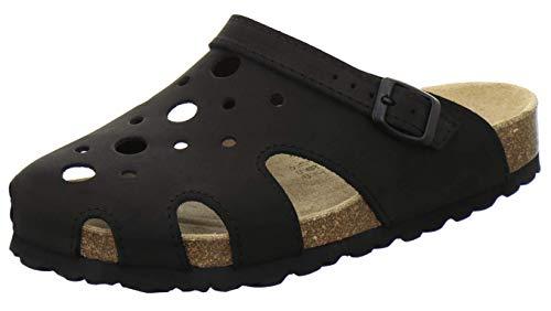 AFS-Schuhe 2993C Clogs Damen aus Leder, Bequeme Hausschuhe für Frauen, praktische Arbeitsschuhe, Made in Germany (43 EU, schwarz)