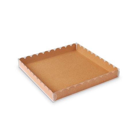 Selfpackaging Caja para Galletas o Macarons con Tapa Transparente y Base en Color Kraft. Pack de 50 Unidades - S