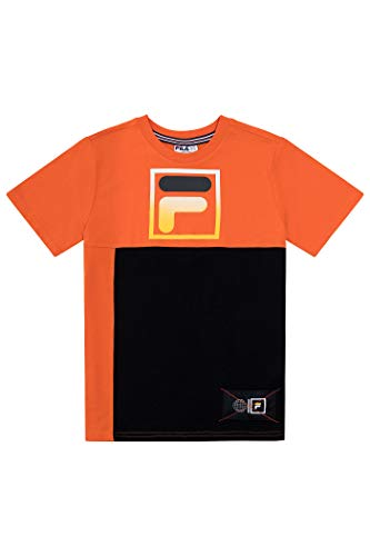 Fila Boys Classic Logo Short Sleeve Tee Shirt Top (X-Large, Hot Orange)