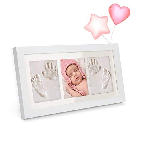 Impronta bambino, MEKUULA cornice impronta neonato con porta foto in legno per mani e piedi del bambino - Una battesimo regalo perfetto bimbo - Bianca (6001)