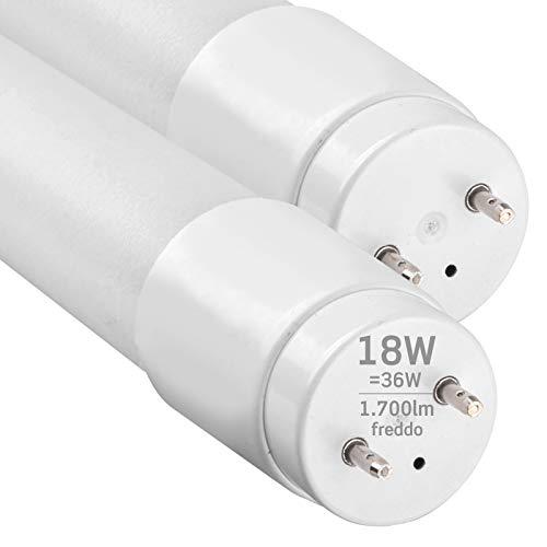 2x Tubi LED 120cm G13 T8 18W 1700 lumen - Luce Bianco Freddo 6400K - Fascio Luminoso 160° - Sostituzione Neon